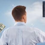 12890830-Jeune-homme-de-choisir-entre-Dieu-et-l-argent-Banque-d'images